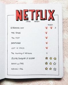ideas list Easy Bullet Journal Ideas To Well Organize & Accelerate Your Ambitious Goals. Easy Bullet Journal Ideas To Well Organize & Accelerate Your Ambitious Goals - Bullet Journal Netflix, Bullet Journal 2020, Bullet Journal Aesthetic, Bullet Journal Notebook, Bullet Journal Inspo, Bullet Journal Ideas Handwriting, Bullet Journal Tv Series, Bullet Journal Inspiration Creative, Daily Journal