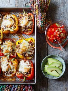 Fylte paprika med tex-mex vri Tex Mex, Baked Potato, Tacos, Dinner Recipes, Potatoes, Baking, Breakfast, Ethnic Recipes, Mat
