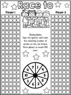 Race to 100 Free Day Counting Game - 100 Days of School 💯 Counting To 100, Counting Games, 100 Day Of School Project, 100 Days Of School, School Projects, School Ideas, Math Stations, Math Centers, Kindergarten Activities