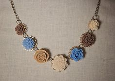 Handmade Blue Rose Bib Necklace Brown Resin by GnidGnadDesigns