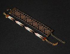 BRACELETS TISSÉS PERLES MIYUKI / DORÉ NOIR BLANC ROSE / MANCHETTE ( VENDU PAR DEUX )  Petit : Longueur : 13,5 cm + 5 cm d' extension  Largeur : 8 mm Perles miyuki 11/0 ( VER - 7726045