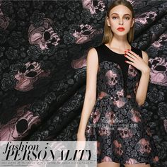 2016 European and American fashion Rose Skull  jacquard fabric for coat  Tutu Dress in the spring and autumn winter/100cm*140cm