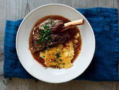 Braised Lamb Shanks with Gremolata and Baked Polenta: Recipe: bonappetit.com