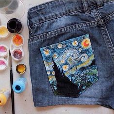 The Starry Night Vincent van Gogh inspired shorts. Painted shorts, casual style, street style.:
