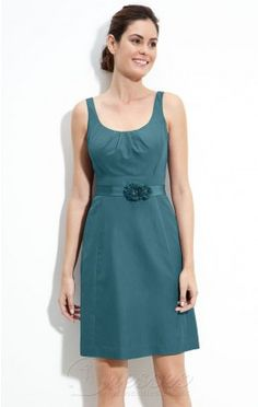 Traditional Sheath Knee-length Straps Hunter Satin Dress