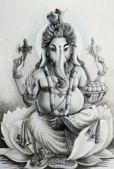 India Painting - Ganesha Hindu God Black And White Portrait by Asp Arts Arte Ganesha, Shri Ganesh, Elefante Tattoo, Ganesh Tattoo, Lord Ganesha Paintings, Ganesh Wallpaper, Ganesh Images, Yoga Art, Hindu Art