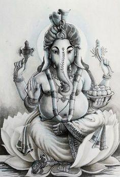 India Painting - Ganesha Hindu God Black And White Portrait by Asp Arts Arte Ganesha, Shri Ganesh, Ganesha Tattoo Lotus, Lotus Tattoo, Tattoo Ink, Body Art Tattoos, Arm Tattoos, Sleeve Tattoos, Elefante Tattoo