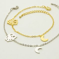 Dainty & Delicate Shiny Gold or Silver Plated Owl and Moon Bracelet Charm with lobster clasp and extension chain