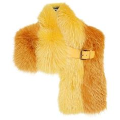Fendi Leather Trim Bicolor Genuine Fox Fur Stole ❤ liked on Polyvore featuring accessories and fendi