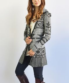 This Black & Gray Geometric Hooded Cardigan is perfect! #zulilyfinds