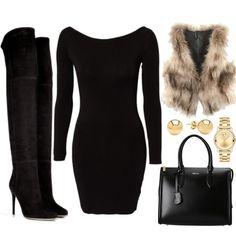 Faux fur black dress