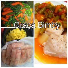 Cozinhar em pirâmide 3 em 1 – Lombos de pescada com batata cozida e legumes   Mais uma forma de fazer uma refeição completa, saudável e sab...