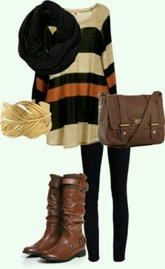 #Winter #casual #brown #outfit