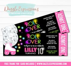 Printable Roller Skating Disco Ticket Birthday Invitation | Glow in the Dark Skating | Neon Night | Dance | Disco Ball | 70's Party Theme | Skate Park | Favor Tags | Sign  Banner | Cupcake Toppers | Food Labels | Party Package Decor Available!