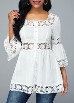 Flare Sleeve Lace Patchwork Square Collar Blouse