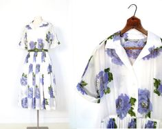 Vintage 1950s Dress / Blue Rose Ikat Print / by SmallEarthVintage