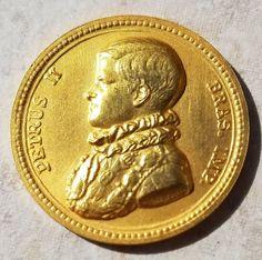 BRAZIL PETER II COMMEMORATIVE GOLD MEDAL 1840-1940-FREE USA SHIPPING-91.7% 22K