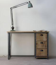 KONK! INDUSTRIAL 'Simple' Oak Desk with Drawers. Table [Bespoke sizes!] Rustic…