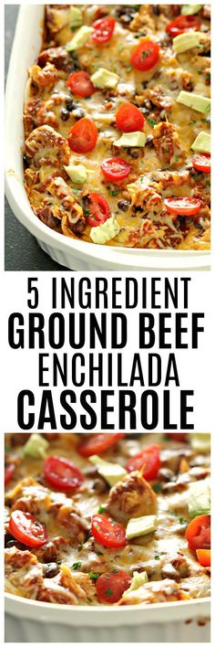 5 Ingredient Ground Beef Enchilada Casserole - Six Sisters' Stuff | Only 5 ingredients and a couple of minutes and BOOM! This simple, delicious, kid friendly dinner is done! #5ingredientsorless #sixsistersrecipes #easydinner