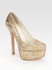 Alice + Olivia - Larimore Cutout Metallic Leather Platform Pumps