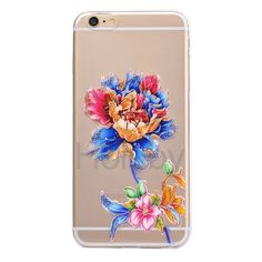 Glitter Powder Crafts Flower TPU Case for iPhone 6 6S Colorized Flower
