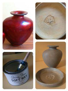 Kleine rode vaas en houten schaal in Annie Sloan's Paris Grey en dark wax 🎨