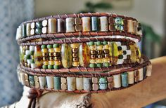 TRIPLE OCEAN JASPER Wrap Leather Bracelet with Rustic Picassp Czech Glass Cigar Beads  and Seed Beads, Brass Beads and detail Button