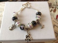 European Style Charm Bracelet With Lampwork Beads & Charms - New | eBay