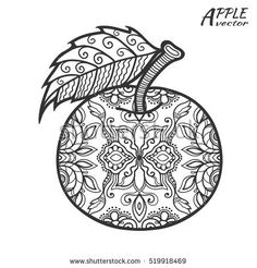 Hand drawn doodle apple. Sketch illustration, element for coloring book page. Decorative fruit isolated black on a white background. Zen art style