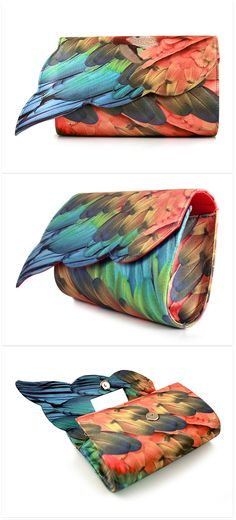 This colourful clutch features beautiful bright parrot wings printed on satin. Brighten up any outfit with this tropical companion.