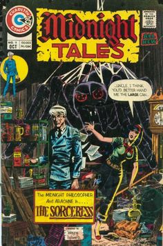 Charlton Comics' Midnight Tales Arachne and Professor Coffin go on the trail of The Sorceress. Sci Fi Comics, Old Comics, Horror Comics, Charlton Comics, Best Comic Books, Silver Age Comics, Vintage Horror, Illustrations, Comic Book Artists
