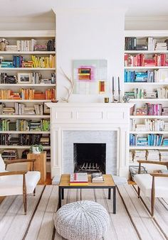 14 Cozy Library Fireplaces We'd Love to Come Home To These stylish bookshelves and cozy fireplace make a home library to die for. Library Fireplace, Cozy Fireplace, Country Fireplace, Cottage Fireplace, Fireplace Bookshelves, Fireplace Outdoor, Victorian Fireplace, White Fireplace, Fireplace Design