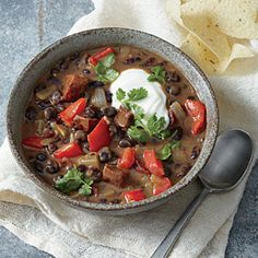 Black Bean Soup with Chorizo and Lime Recipe | Cooking Light #myplate #veggies #protein