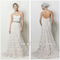 90 Strapless Sweetheart Low Back Mermaid Lace Wedding Dress Db104