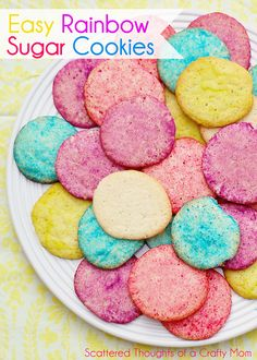 Easy Rainbow Sugar Cookies.  Perfect cookie project for kids (especially for those that dont have hours to spend in the kitchen!) #cookies #...