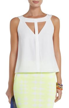 Luisa Silk Cutout Tank Top | BCBG