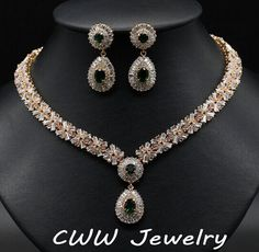 Super ! High Quality Gold Plated Emerald Green African CZ Diamond Beads Bridal Wedding Jewelry Sets For Wedding Brides (T097)