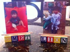 Photo stands created with hot glue, alphabet blocks, and flat Popsicle sticks DIY easy