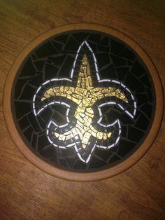Mosaic Lazy Susan Fleur de Lis New Orleans Saints