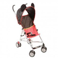 Add some magic to your baby's day with an umbrella stroller that features a fun Mickey Mouse design that'll have everyone grinning from ear to ear. The covered handles have extra height to make pushing more comfortable for Mom or Dad and the storage basket underneath is a great place to stow items during the ride. The stroller also folds down easily to a compact size, making it simple to store in the car and ready for travel.
