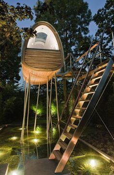 a giant, futuristic treehouse