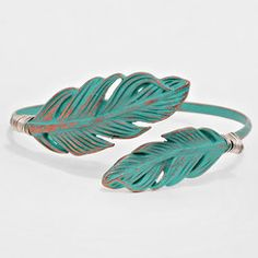 Antique Turquoise Boho Chic Feather Open Cuff Bracelet