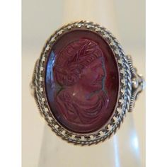 Antique purple glass Cameo ring, silver 925,19th century : Akaham   Ruby Lane Ruby Lane, Cameo Ring, Purple Glass, 19th Century, Jewelry Rings, Silver Rings, Brooch, Jewels, Antiques