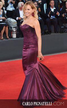 Barbara D'Urso wearing #carlopignatelli on the #redcarpet at the Venice Film Festival #venezia71