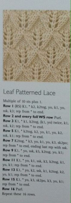 Baby Knitting Patterns Lace All in one top down size years Baby Knitting Patterns, Lace Knitting Stitches, Knitting Charts, Easy Knitting, Knitting Designs, Knitting Needles, Leaf Knitting Pattern, Doily Patterns, Pattern Ideas