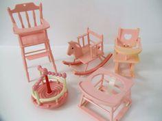 Vintage Baby Nurseries | Vintage Dollhouse Furniture for Baby - 5 PIECE Nursery SET - Powder ...