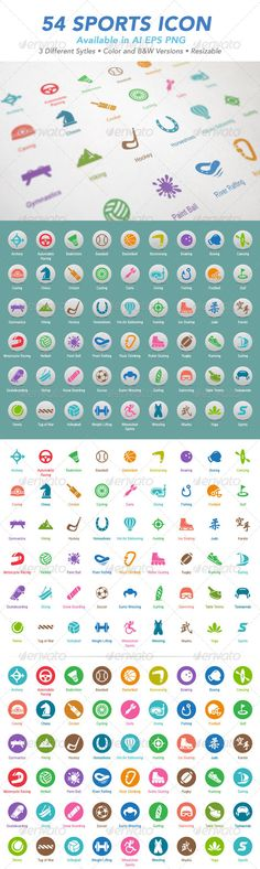 54 Sports Icon Set #GraphicRiver Simple and clean Sport Icons Set for use in websites, promotional materials, illustrations or infographics. Highly customisable, can be easily adjusted to fit your needs. Features • 54 Simple & Clean Sports Icons • Available in: AI, EPS, PNG • 3 Different Styles • Color & B&W Versions Included • Editable & Resizable • Easy to change colors Icon List • Archery • Automobile Racing • Badminton • Baseball • Basketball • Boomerang • Bowling • Boxing • Canoing •…