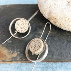 Silver and lava stone hook earrings -dangle and drop-unique contemporary silver earrings handmade by Carla Amaro