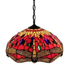 Tiffany-Style-Red-Dragonfly-Hanging-Lamp