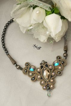 nice Soutache necklace. Soutache jewelry .
